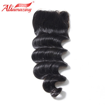 Ali Amazing Hair Closure Brazilian Human Hair Loose Wave Lace Closure 4X4 Free Middle Three Part With Baby Hair Remy Hair