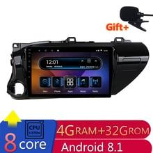 10 «4G ram 2.5D ips 8 Core Android 8,1 автомобильный DVD мультимедийный плеер gps для Toyota Hilux 2016 2017 аудио Автомагнитола