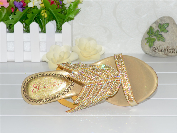 2016 Summer New Diamond Slope With High Heeled Wedges Online Shoes Sandals Size 11 Womens Golden Open Toe Slippers13