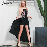 Simplee Elegant Bodysuit Women Jumpsuit Romper Backless Embroidery Combishort Femme Chritsmas Playsuit Summer Overalls Leotard