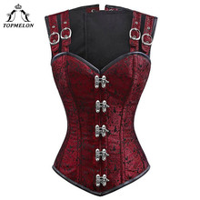 TOPMELON Bustier Gothic Corselet Corset Women Steampunk Modeling Strap Steel Bone Floral Buckle Party New Tops