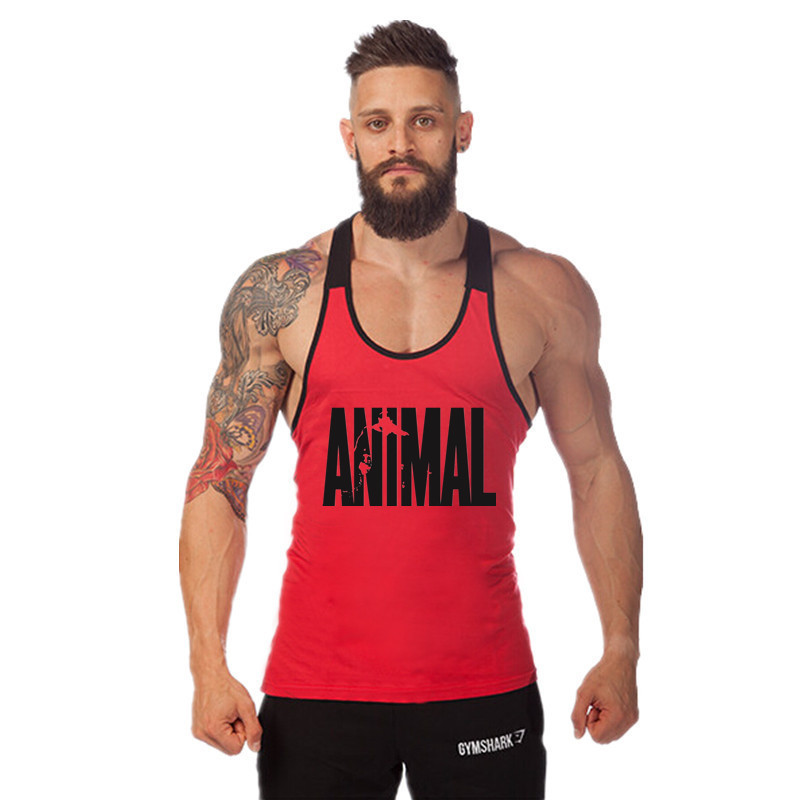 ZY 2019 Solid Animal Letter Print Men's   Tank     Tops   Shirt Cotton Breathable Sweat Spot Gym Undershirt Vest Regatas Canotta Uomo