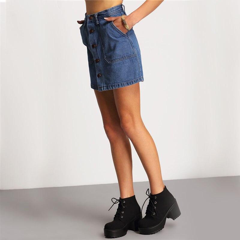 Colrovie известный 2016 летний стиль женщины мини-юбки высокой талией sexy женская карманы синий однобортный джинсовой линии юбка