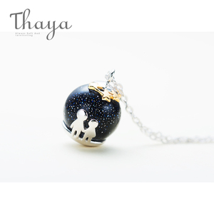 Image 5 - Thaya fête bleu gravier gemme pierre pendentif collier S925 en argent Sterling enfants enfance collier pour les femmes Chic cadeau Unique