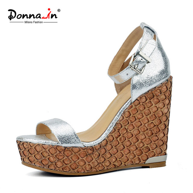 Donna-in 2017 Women Platform Sandals Summer Genuine Patent Leather Shoes Woman Silver Wedge Buckle High Heels Size 40 41 XWZ3934