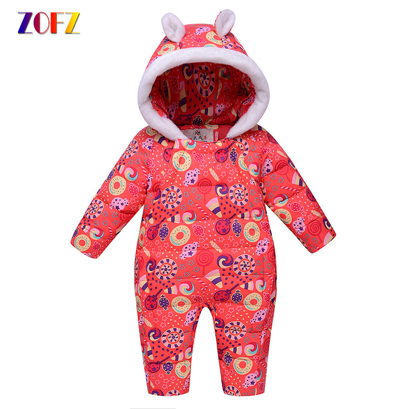 ZOFZ Cute Baby Clothes Long Sleeve Down jumpsuit for Girls New Fashion baby Rompers Warm Thick Hooded clothing for newborn bebes toddlers girls dots deer pleated cotton dress long sleeve dresses