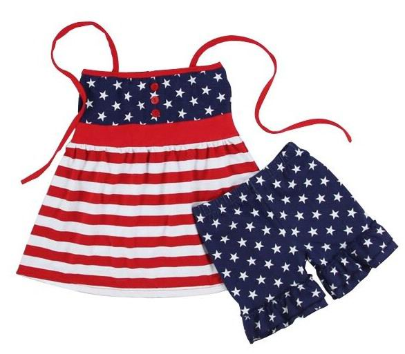 2017 Summer New Baby Girl Sets American flag Halter Sundress+Shorts Two Piece Fashion Outfits Children Clothing SQG042