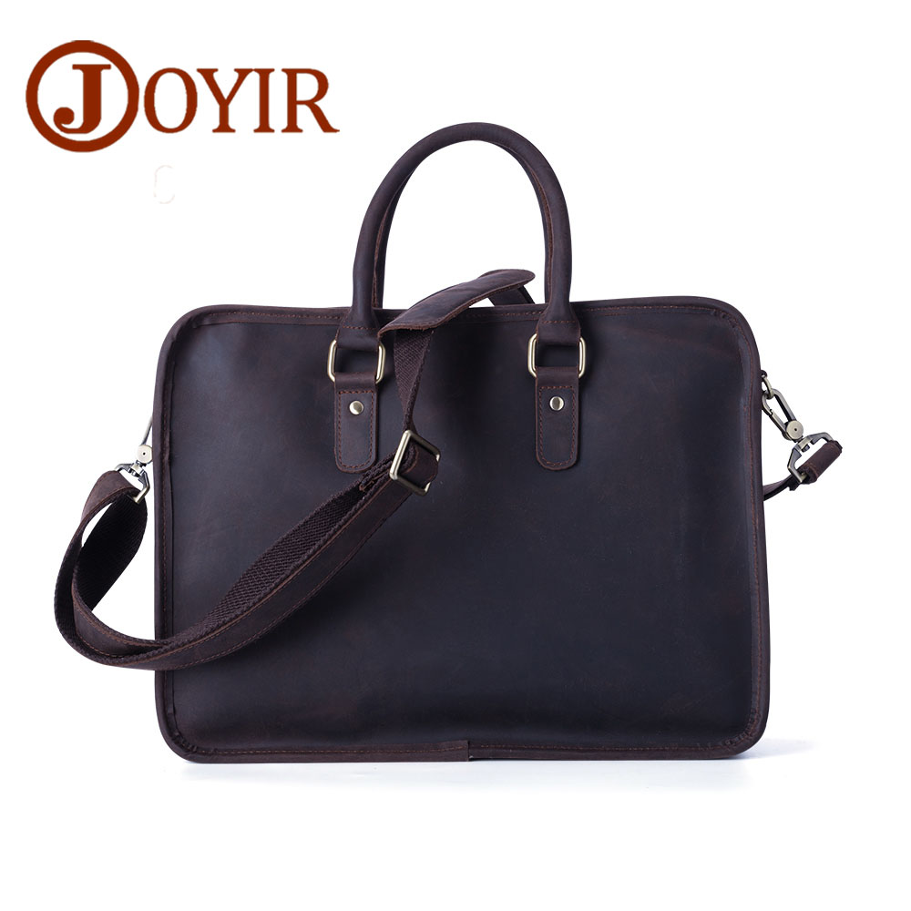 Joyir Crazy horse leather Briefcases Men's genuine leather business bags Male Shoulder bag Laptop bag Men office bags for men joyir men briefcase real leather handbag crazy horse genuine leather male business retro messenger shoulder bag for men mandbag