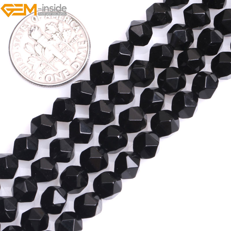 Gem-inside Natural Faceted Beads Of Cambay Black Agates Stone Beads For Jewelry Making Necklace 6-12mm 15inches DIY Jewellery