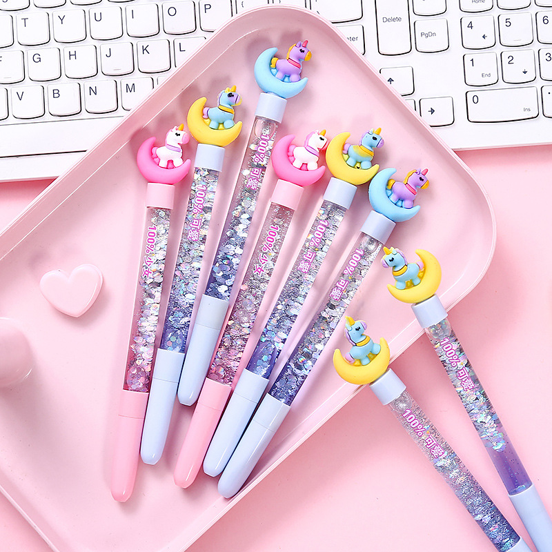 Creatively Cute Moon Trojan Sequin Liquid Quicksand Gel Pen Magic Pens Promotion Gift School Office Supplies Stationery