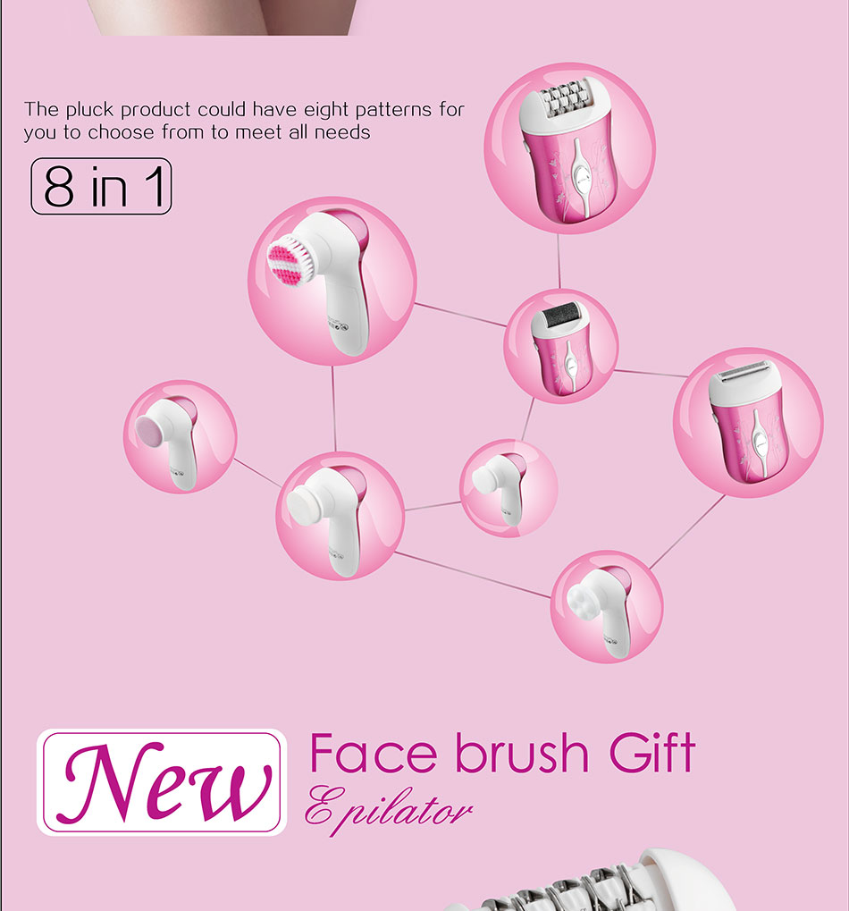 DSP 3 in 1Epilator Lady Electric Shaver For Bikini Hair Removal Tool and5 In 1 Electric Facial Cleanser Deep Cleansing Skin Care 3