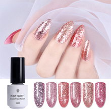 BORN PRETTY Rose Gold Nail Glitter Gel Polish Shining Color Gel Soak Off UV & LED Gel Varnish Long Lasting Nail Art Gel Polish
