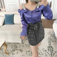2019 New Spring Heavy Drill Off Shoulder Fairy Top Women's Diamond Strap Open Shoulder Satin Shirt Long Sleeve Blouse Sexy Tops
