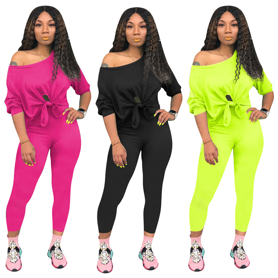 HAOYUAN Neon Two Piece Tracksuit Set Women Long Sleeves T-shirt Top And Pants Sweat Suits Sexy Festival Outfits Matching Sets
