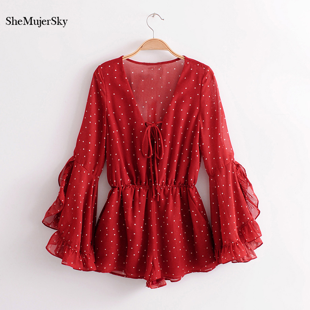 SheMujerSky Red Bohemian Playsuit Dot Printed   Rompers   Long Flare Sleeve Jumpsuit Elegant 2018 macacao curto