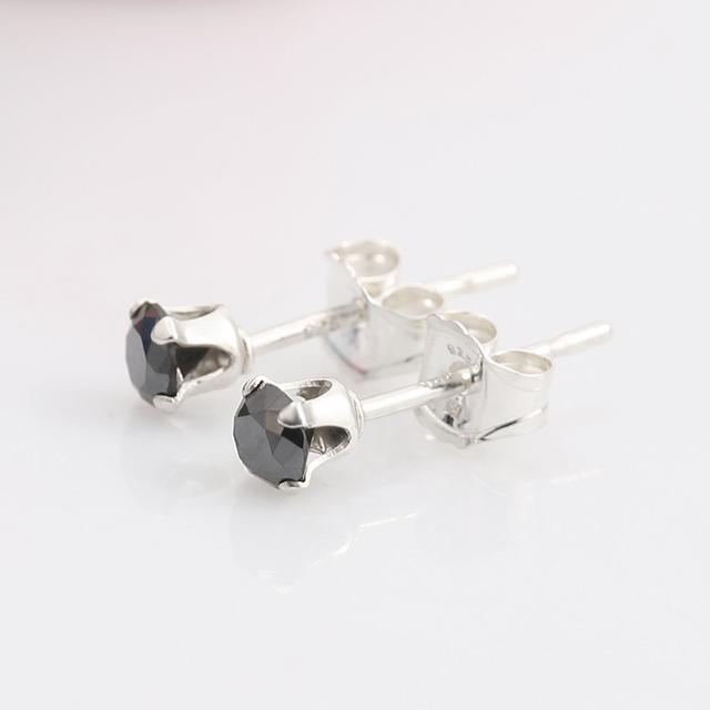 GemStoneKing Solid 925 Sterling Silver Stud Earrings  0.12 Ct Round Natural Black Diamond Wedding Earrings For Women