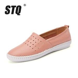 Image 3 - STQ 2020 Summer Women Flats Genuine Leather Ballet Flats Shoes Ladies Cutout Slip On Tenis Feminino Loafers Slipony Shoes B17