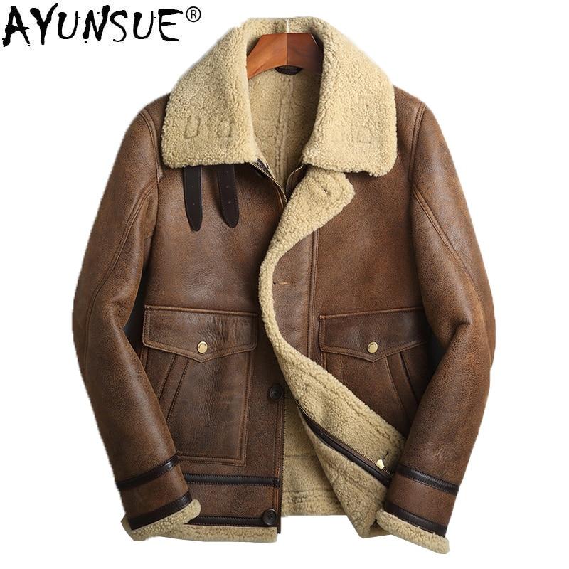 mouton homme court veste r el brown manteau vintage peau. Black Bedroom Furniture Sets. Home Design Ideas