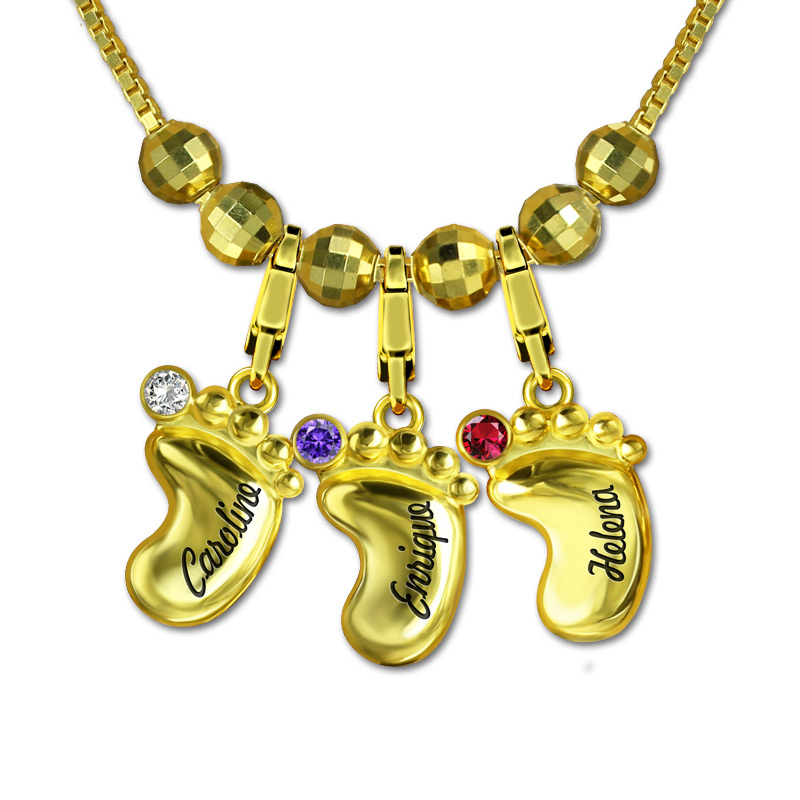Cute Women's Personalized 3D Baby Feet Necklace Custom Engraved Name Birthstone Necklaces Gold Chain for Mom Collier Ras Du Cou women custom name necklace silver gold engraved kid charms necklaces costume girl boy charm choker gift for mom stranger things