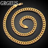 GRGEUS 8mm Curb Link Chain Mens Chain Gold Filled Necklace Customized Wholesale Jewelry N003