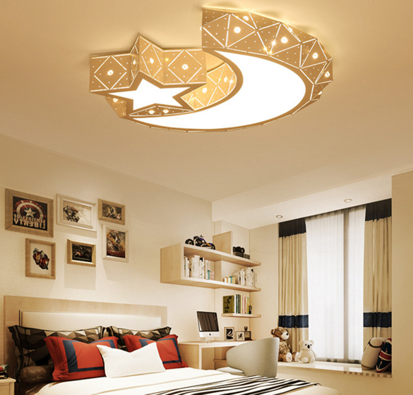 T New Lovely Sweety Star Moon Creative Ceiling Light For Children's Room Colorful Lamps Bedroom Home Lighting DHL Free creative star moon lampshade ceiling light 85 265v 24w led child baby room ceiling lamps foyer bedroom decoration lights