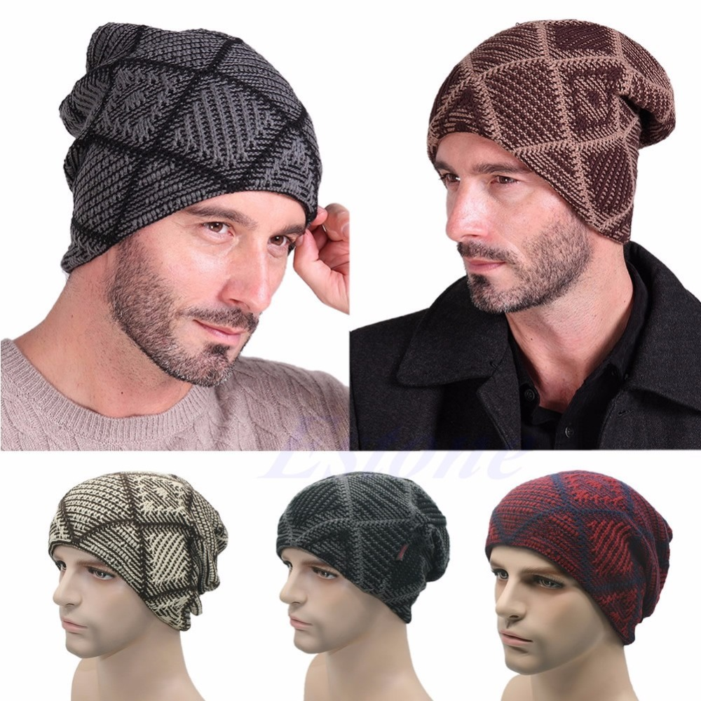 0e833a961e1 New Men Cashmere Knit Hat Ladies Knitted Woolly Winter Oversized Slouch  Beanie Cap skateboard Hat