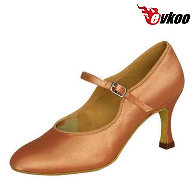 Evkoodance Ballroom Shoes 4 Different Colors Black White Tan Khaki Satin 7cm Heel Ballroom Dance Shoes For Ladies Evkoo-013 цена