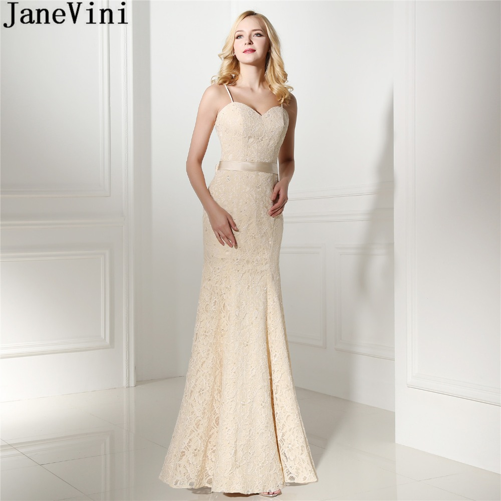 JaneVini 2018 Champagne Mermaid Lace   Bridesmaid     Dresses   Long Gowns For Women Sequined Spaghetti Straps Sash Wedding Party   Dress