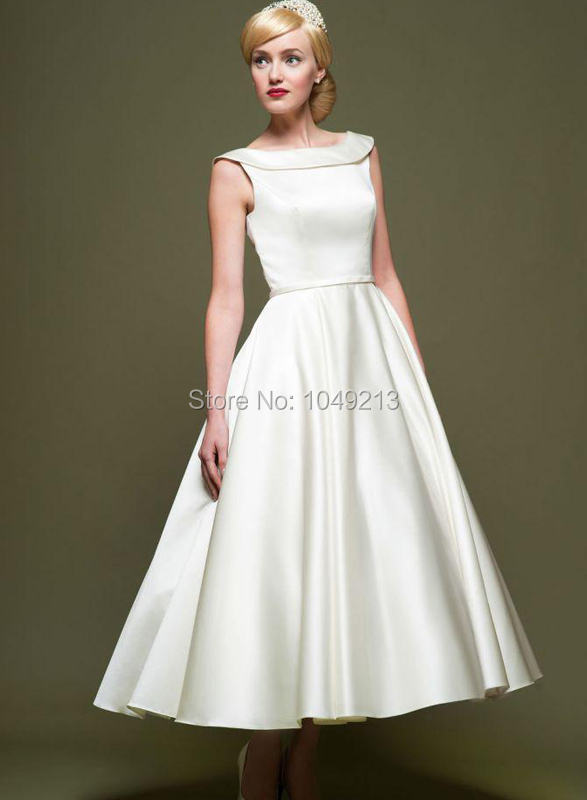 Simple 1950s Vintage Inspired Short Tea Length Plain Satin Wedding Dress Bridal Gown On S Size 2 4 6 8 10 12 In Dresses From