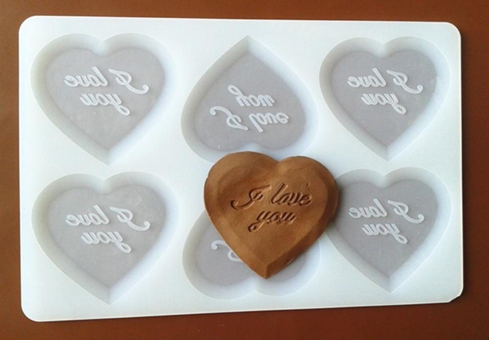 FXC029 Heart Shape  I Love You Silicone Chocolate Mold Chocolate Chip Card Sugar Mold Cake Decoration Mold