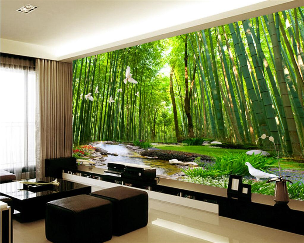 beibehang Home decoration murals wall paper bamboo water leisure ...