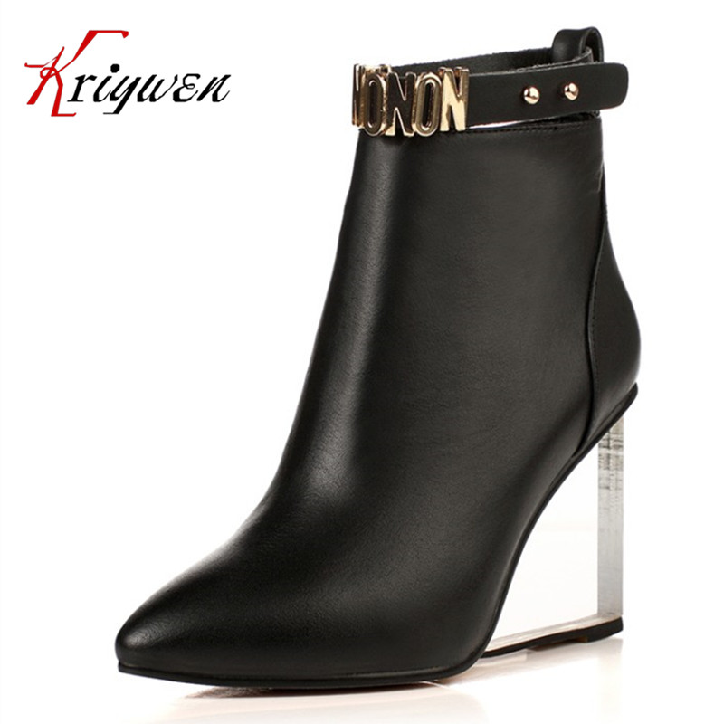 Large size 33-41 Buckle Designer Woman party wedding Shoes full grain leather crystal high heels Fashion ankle motorcycle Boots