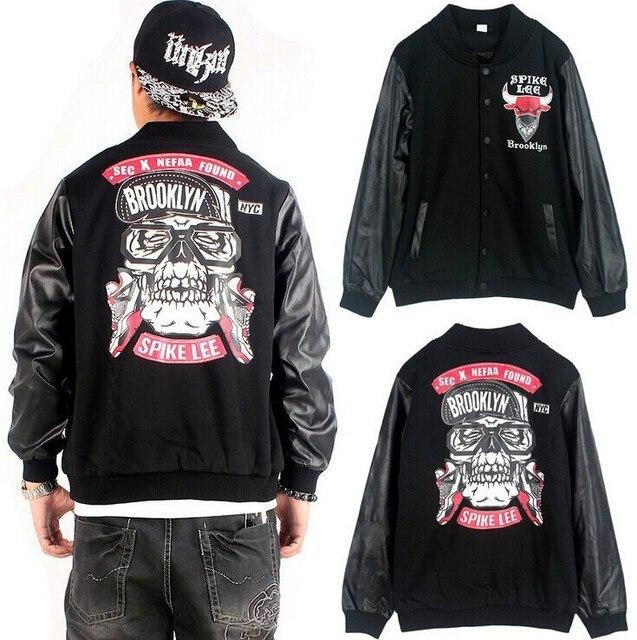 Brooklyn Streetwear Men's Leather Sleeve Hip Hop Jackets Men ...