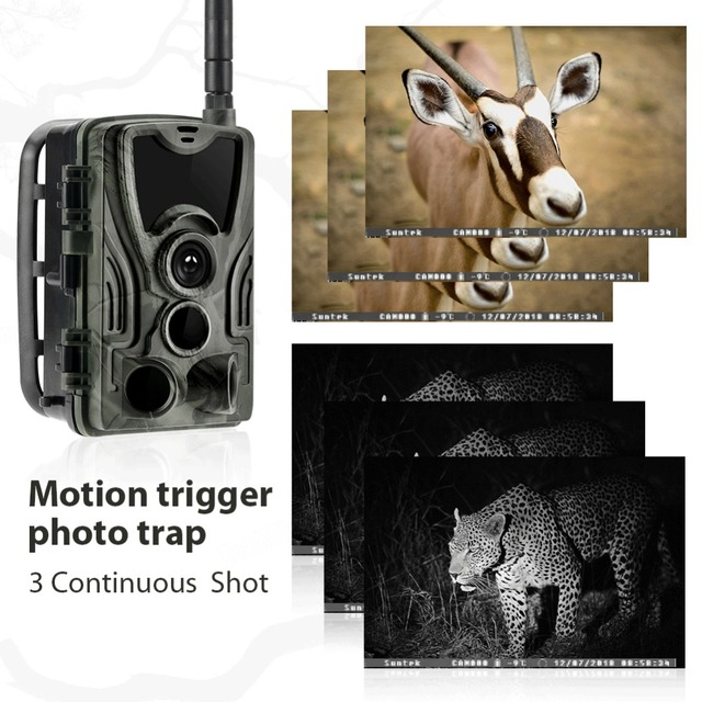 2G MMS SMS  SMTP Trail Wildlife Camera 20MP 1080P Night Vision Cellular Mobile Hunting Cameras HC801M Wireless Photo Trap 5
