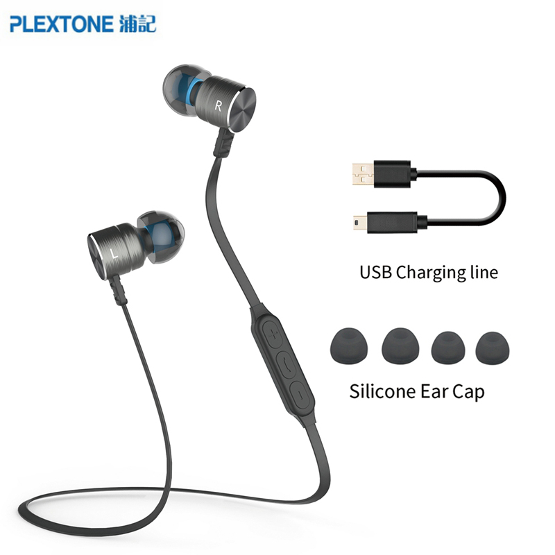 PlEXTONE BX325 Metal Magnet Bluetooth Headset Wireless Stereo earphone Sports Headphone with Mic For iPhone 6s Xiaomi mi Earbuds wireless bluetooth headset v4 0 sports earphone gym headphone with mic earbuds universal for apple 7 plus xiaomi mobile phone