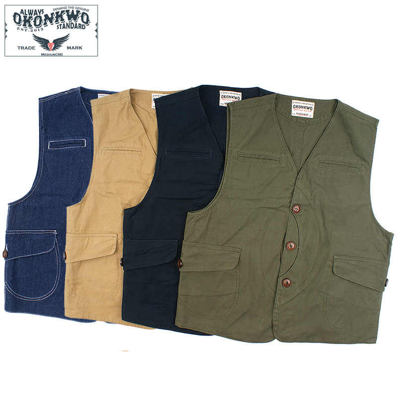 Vintage Game Pocket Canvas Vest Hunting Fishing Outdoor Waistcoat Jacket For Men Four Colors