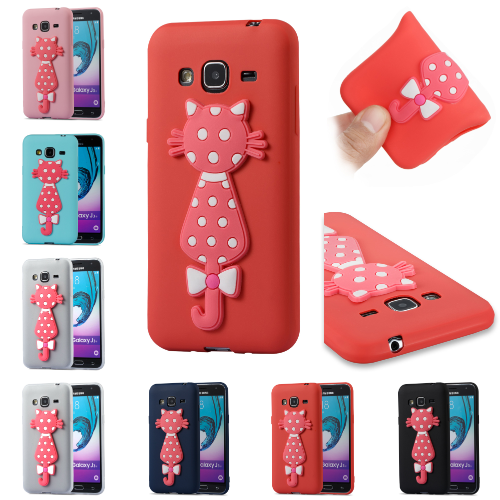 TPU SiliconeCartoon 3D Cat Cubierta Bag Phone Case Kryty Shell For Sumsung Samsug Galaxy Galax J3 2016 j 310