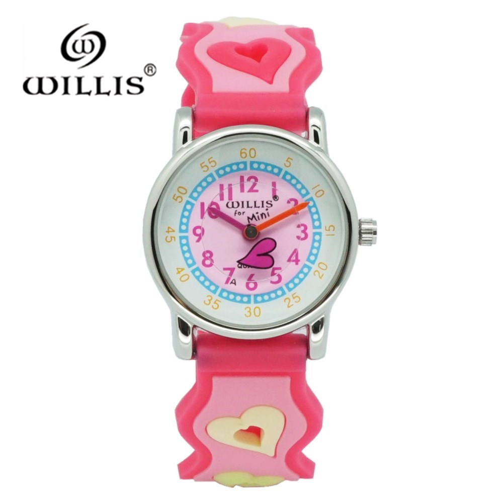 WILLIS Fashion Love Cartoon Watches Kid Girls Waterproof Wristwatch Children Quartz Plastic Watches Cute Clock Relogio Feminino
