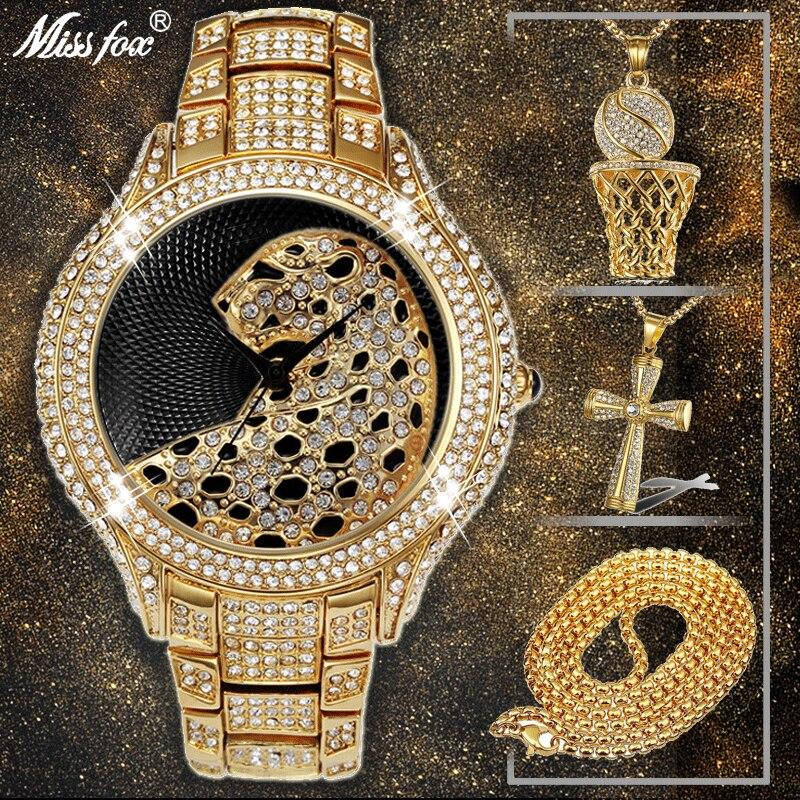 GüNstig Einkaufen Hip Hop Iced Out Voll Aaa Zirkonia Leopard Luxus Marke Herren Uhren Kreuz & Basketball Anhänger & Gold Halskette Combo Set RegelmäßIges TeegeträNk Verbessert Ihre Gesundheit Brautschmuck Sets
