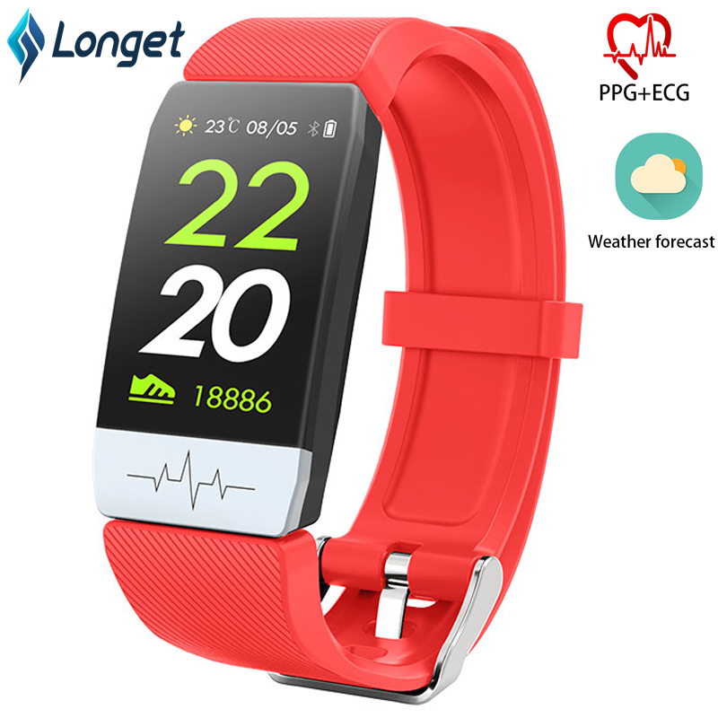 Longet Fitness Watch Q1S Waterproof ECG&PPG Smart Watch Band Sleep Monitor Heart Rate Monitor Smart Bracelet for Sport Running