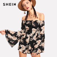 SHEIN Summer Ladies Long Sleeve High Waist Jumpsuit Eyelet Lace Up Off Shoulder Floral Romper Womens