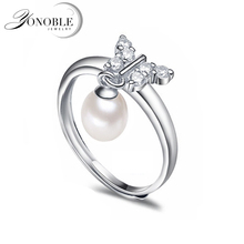 Fashion natural pearl rings 925 sterling silver pearl ring adjustable white freshwater pearl ring butterfuly women birthday gift daimi 925 silver pearl ring double ring design freshwater pearl five pearl rings