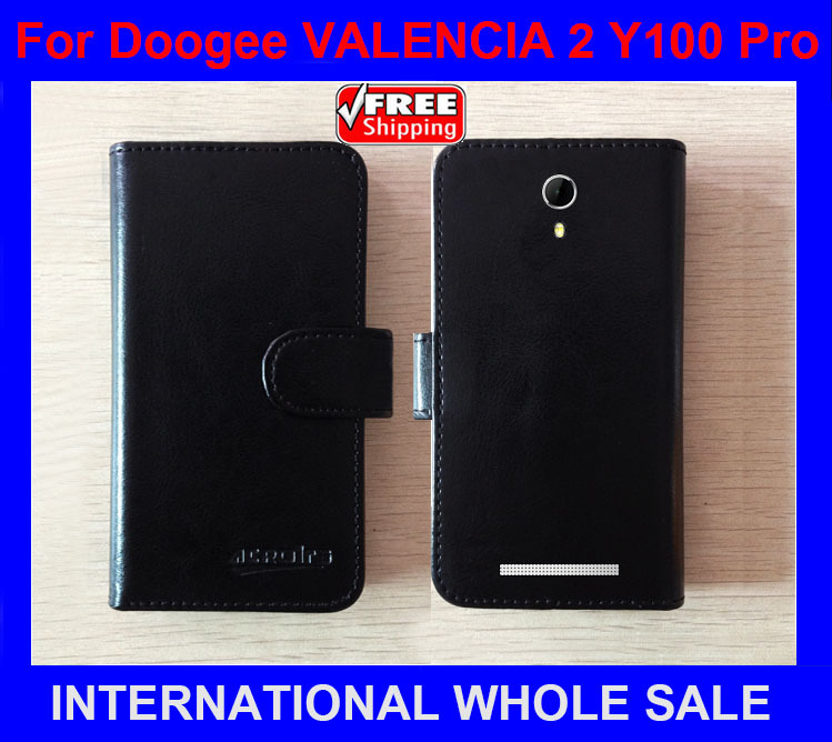 Factory Price Original Flip Leather Exclusive Case For <font><b>Doogee</b></font> <font><b>VALENCIA</b></font> <font><b>2</b></font> <font><b>Y100</b></font> <font><b>Pro</b></font> Card Holder Wallet Bag tracking number image