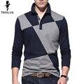 Troilus 2016 nueva patchwork polo hombres de la camisa de polo camisas de lujo polos de algodón superior de manga larga básica de los hombres diseñador de la marca polo Homme