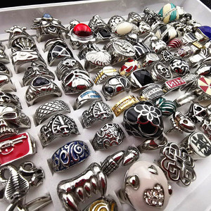 Image 4 - MixMax 20pcs Top Fashion Titanium steel casting ring personality stainless steel rings for Men Women Jewelry