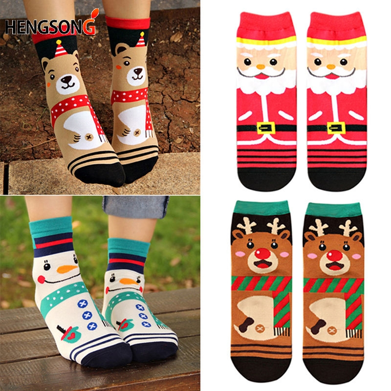 4 Pairs/Pack New Hot Women Cartoon Socks Autumn Winter Women's 3D Funny Soks Lady and Girl Christmas Cotton Dress Sock HO968186