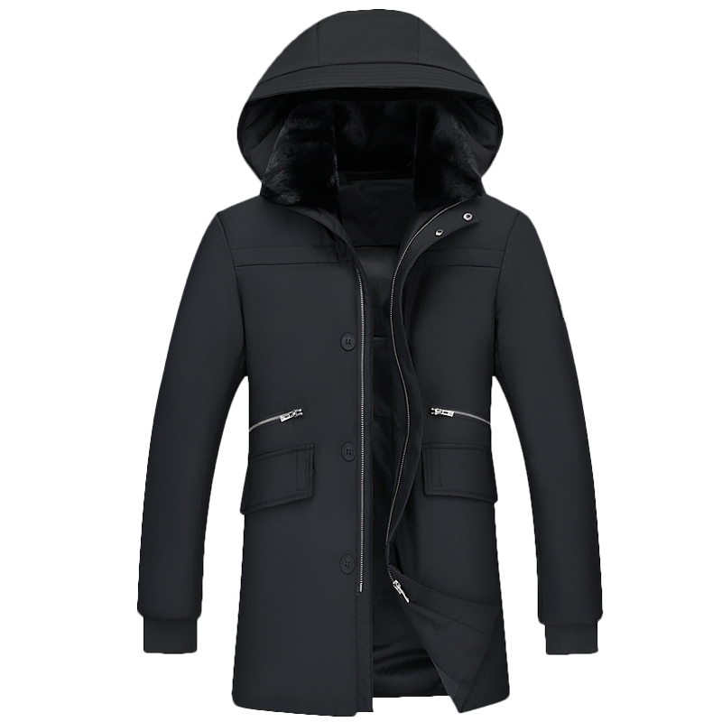 Winter thicken down jacket, mens medium style, Korean version, slim fit and fashionable coat for youth, sales promotion