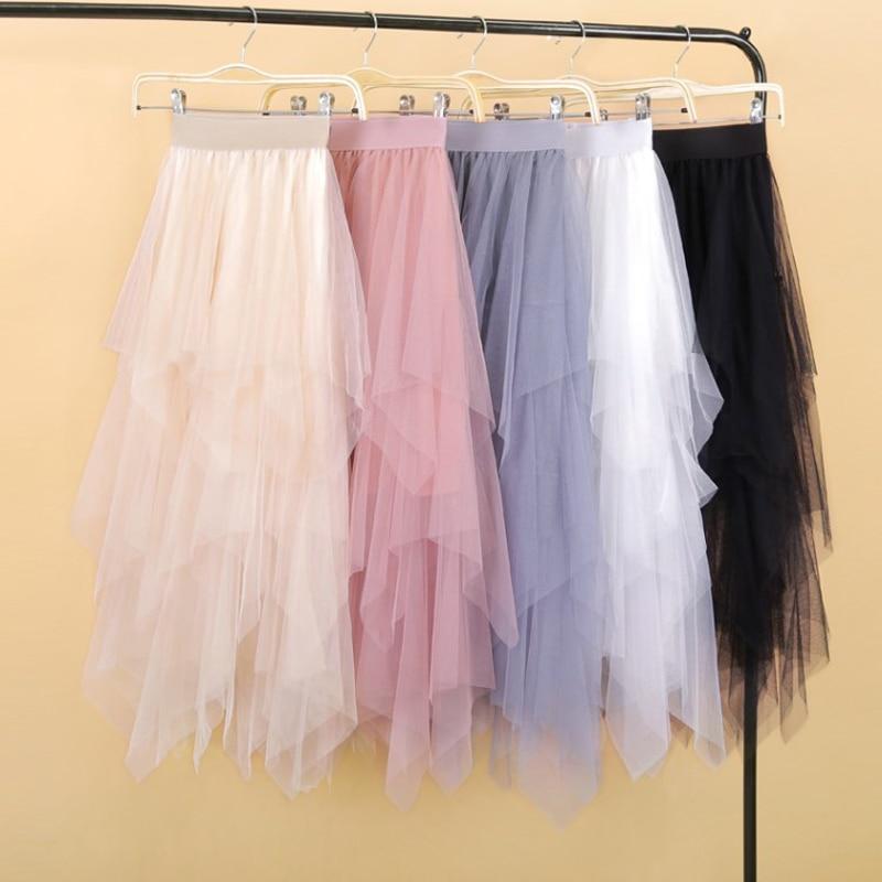 Women Irregular Tulle Skirts Fashion Elastic High Waist Mesh Tutu Skirt Pleated Long Skirts Midi Skirt Saias Faldas Jupe Femmle
