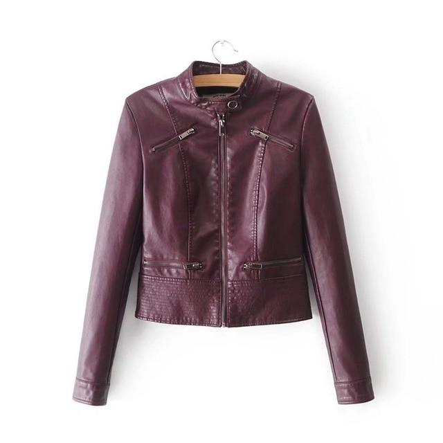 SOFIBERY Spring Autumn New HOT Leather Jacket Fashion Women Slim Long Sleeve Short Motorcycle Biker Jacket Coat FXL32 3