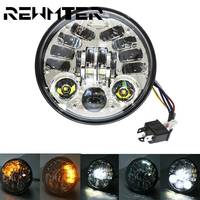 5 3/4 Round Headlamp For Harley Dyna Sportster 1200 48 883 Turn Signal Light 5.75 Inch Projector LED Moto Headlight